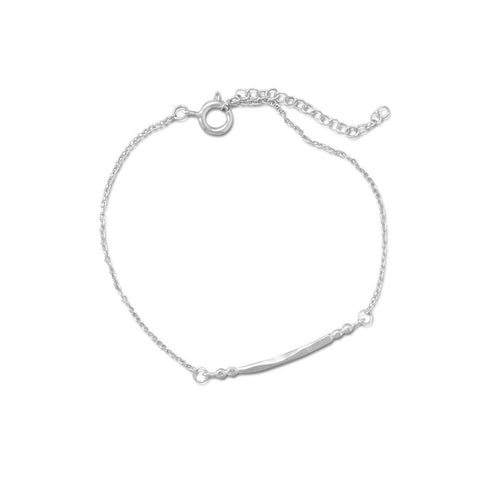 "7"" + 1"" Rhodium Plated Curved Bar and Bead Bracelet"