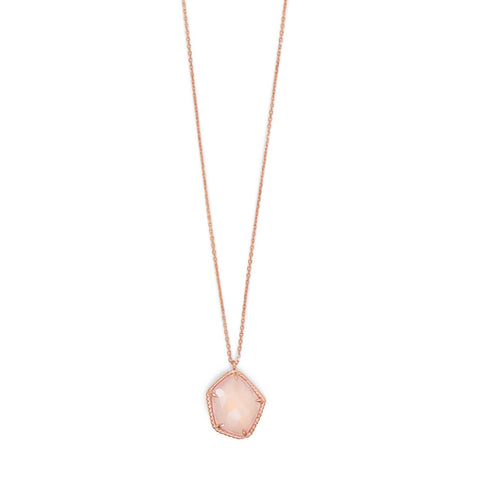 14 Karat Rose Gold Plated Necklace with Rose Quartz