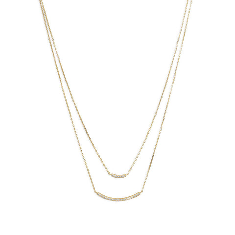 14 Karat Gold Plated Double Strand Curved CZ Bar Necklace