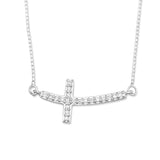 Rhodium Plated Sideways Cross Necklace with Diamonds