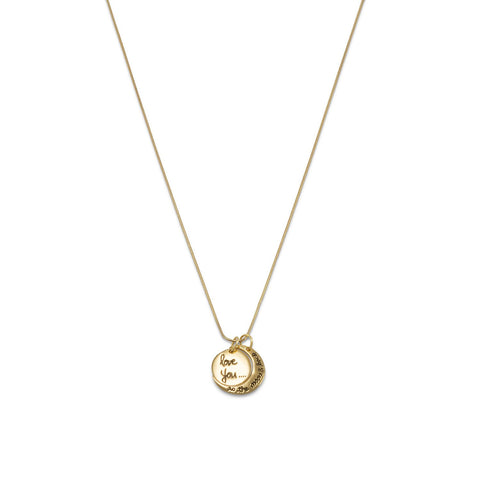 14 Karat Gold Plated Love You to the Moon and Back Charm Necklace
