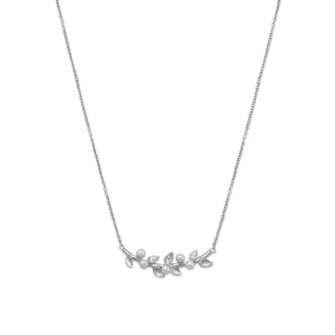 Rhodium Plated Cultured Freshwater Pearl Branch Necklace