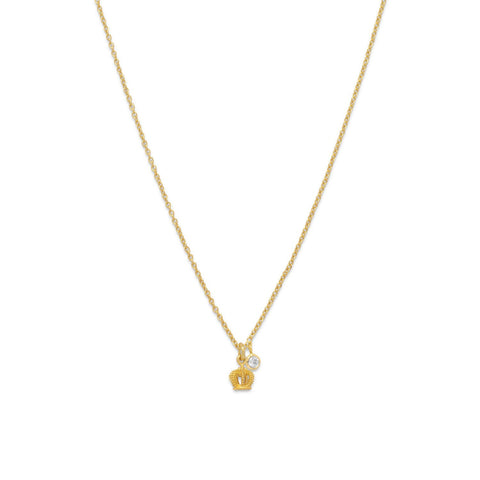 14 Karat Gold Plated Crown Charm Necklace