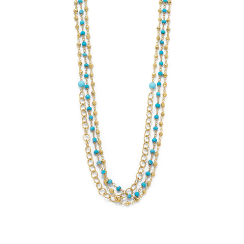 Triple Strand Gold Tone Multistone Necklace