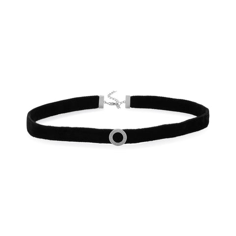 Rhodium Plated CZ Circle Black Velvet Choker Necklace