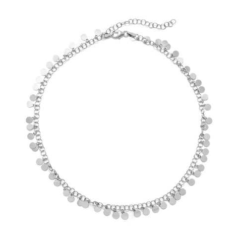 Rhodium Plated Disk Choker