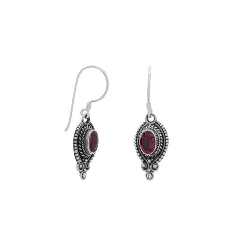 Oval Faceted Garnet Oxidized Edge Earrings on French Wire