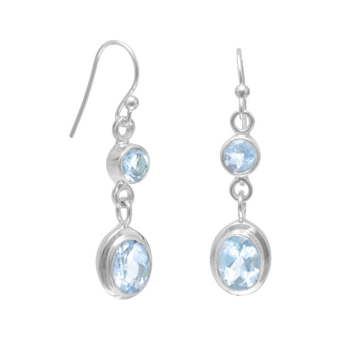 Round and Oval Blue Topaz Earrings on French Wire
