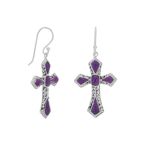 Reconstituted Dyed Purple Turquoise Cross Earrings