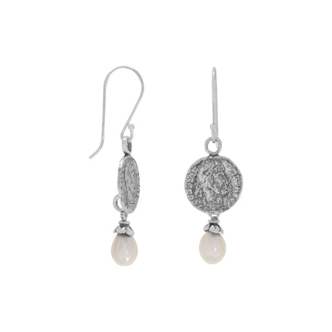 Coined Pearl Earrings