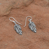 Oxidized Pinna Feather Earrings