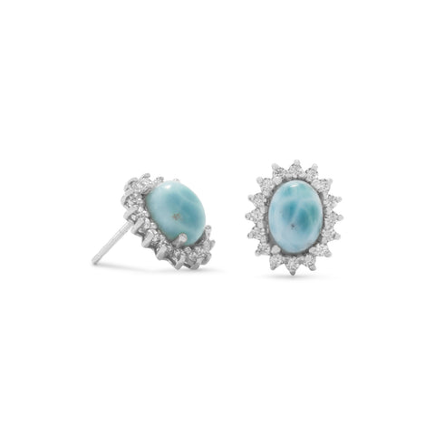 Rhodium Plated Larimar Earrings with CZs
