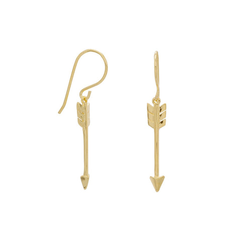 14 Karat Gold Plated Aim High Arrow Earrings