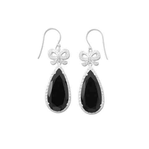 Black Onyx Earrings with CZ Bows