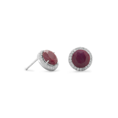 Ruby Stud Earrings with CZ Edge