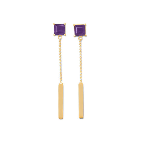 14K Gold Plated Amethyst Post Drop Earrings