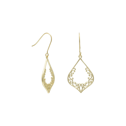 Ornate Brushed 18 Karat Gold Plated Earrings