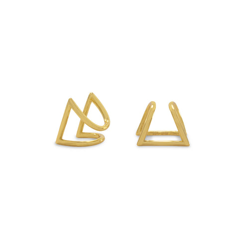 18 Karat Gold Plated Tri Squeeze Style Earrings