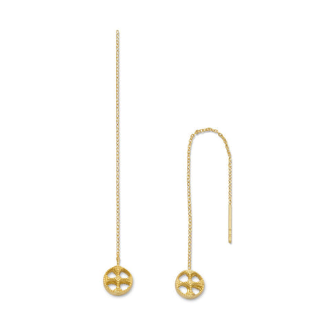 14 Karat Gold Plated Threader Earrings with Round Cut Out Ends