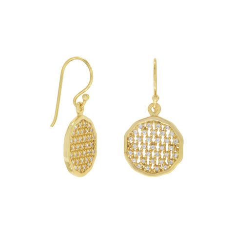 14 Karat Gold Plated Round Cut Out CZ Earrings