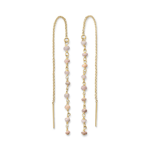 Pink Opal Bead Threader Earrings