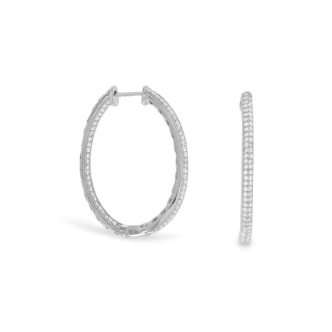 Rhodium Plated CZ In/Out Hoop Earrings