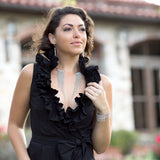 Rhodium Plated Open Flex Collar with Graduated Beaded Strands