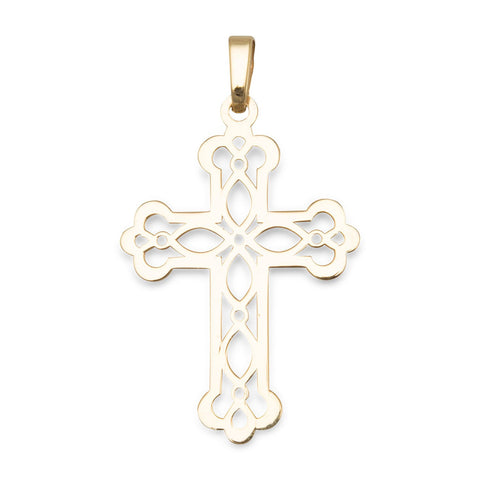 14 Karat Gold Plated Ornate Cross Pendant