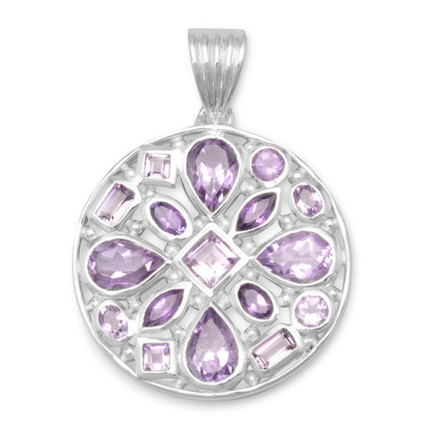 Multishape Faceted Amethyst Pendant