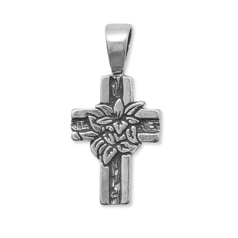 Oxidized Cross Pendant with Lilies