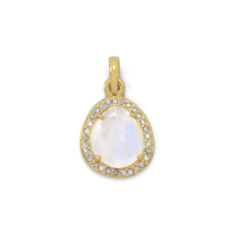 14 Karat Gold Plated Rainbow Moonstone and Gray Diamond Pendant