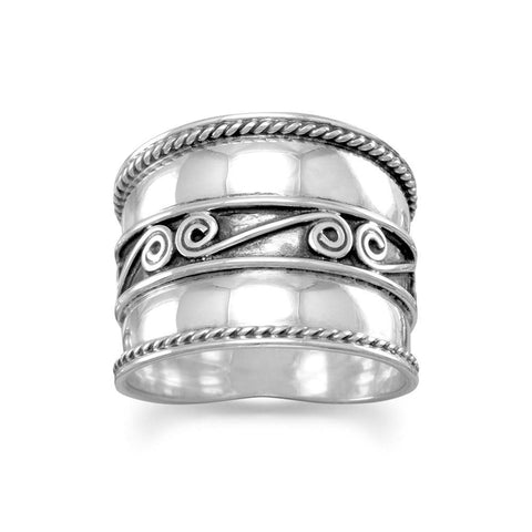 Bali Ring with Spirals and Rope Edge