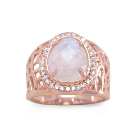 14 Karat Rose Gold Plated Large Rainbow Moonstone Ring