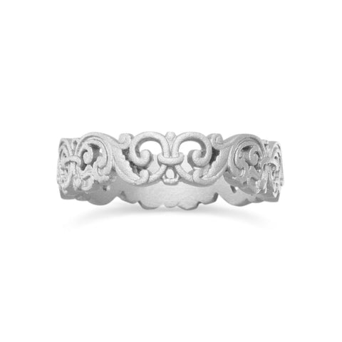 Ornate Rhodium Plated Fleur de Lis Ring