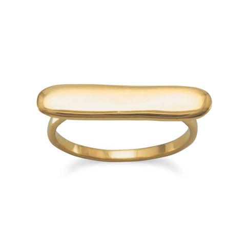 Engravable Polished 14 Karat Gold Plated Bar Ring