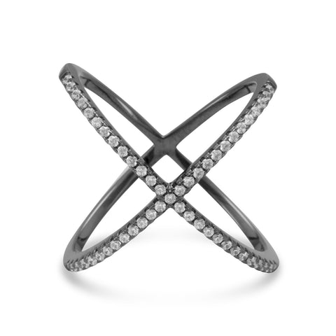 Black Cobalt Plated Criss Cross 'X' Ring with Signity CZs