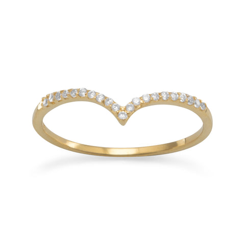 "18 Karat Gold Plated CZ ""V"" Ring"