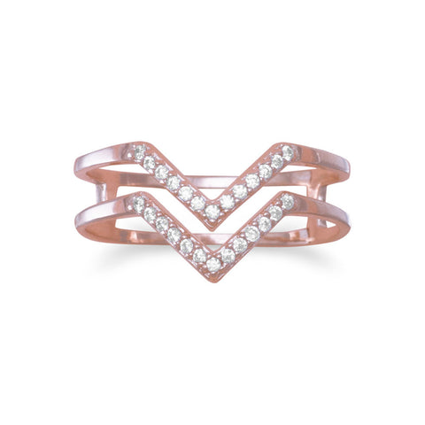 "18 Karat Rose Gold Plated Double Row CZ ""V"" Ring"