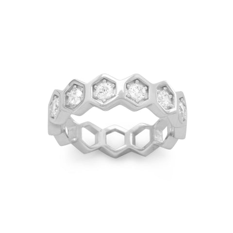 Rhodium Plated CZ Honeycomb Ring