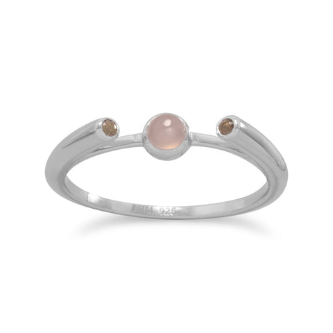 Rhodium Plated Peach Moonstone and Smoky Quartz Ring