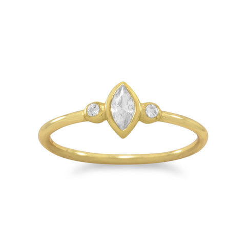 14 Karat Gold Plated Multishape CZ Ring