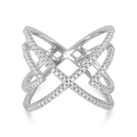 "Rhodium Plated CZ Cut Out ""X"" Design Ring"