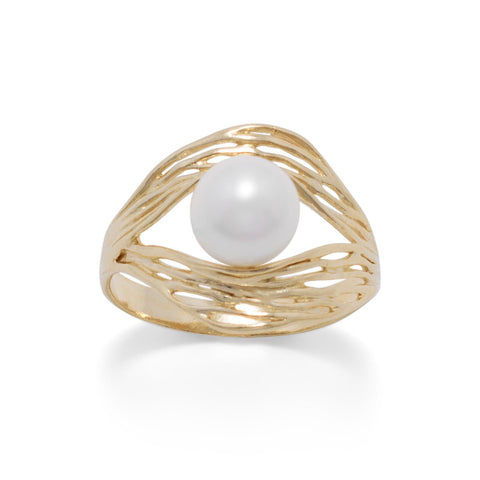 14 Karat Gold Plated Ornate Wave Design and Cultured Freshwater Pearl Ring