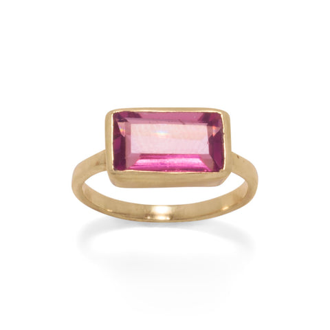14 Karat Gold Plated Pink Glass Rectangle Ring