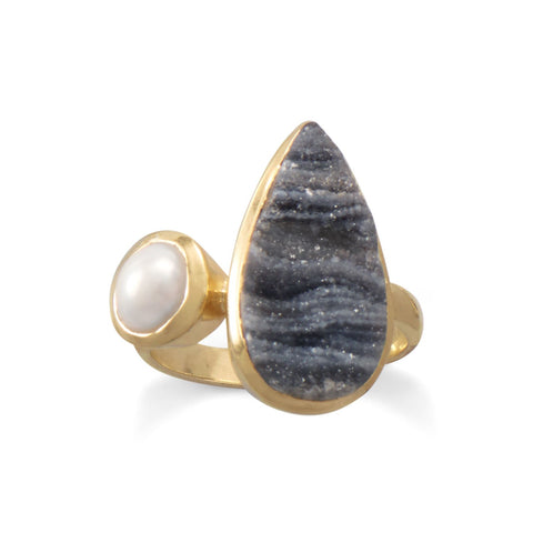 14 Karat Gold Plated Desert Druzy and Cultured Freshwater Pearl Ring