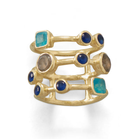 14 Karat Gold Plated Multistone Caged Back Ring