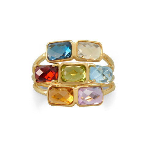 14 Karat Gold Plated Faceted Rectangle Multi Gemstone Ring