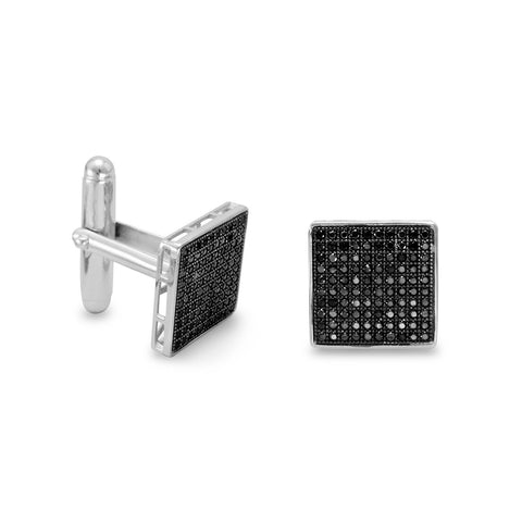 Rhodium Plated Black Pave CZ Cuff Links
