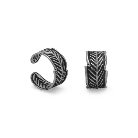 Oxidized Feather Design Ear Cuffs