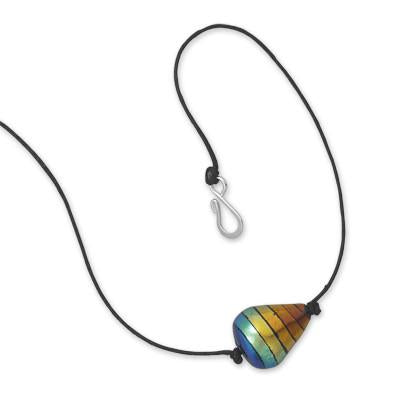 "17"" Rainbow Dichroic Glass Fashion Necklace"